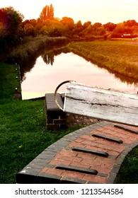 lock gate canal sunset