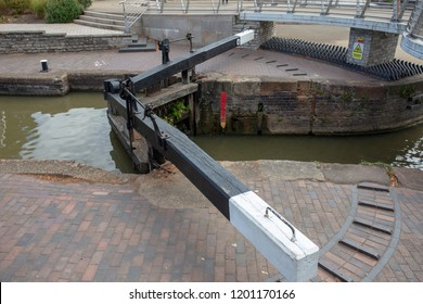 A lock gate on the canal in Stratford-upon-Avon, England.