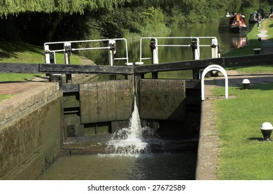 Lock gates on the grand union canal northamptonshire england