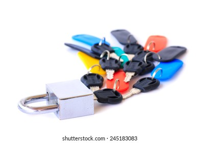 lock and key isolated on a white background