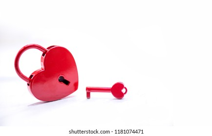 Lock and key. Love concept for Valentine and Sweetest day on white background