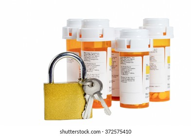Lock and Keys With Medicine Bottles