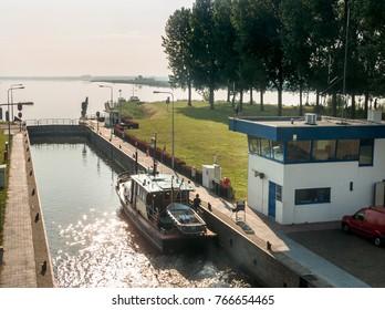 Lock near the city of Nijkerk in the province Gelderland, Holland, NLD