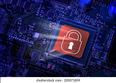 Lock on computer chip - technology security concept