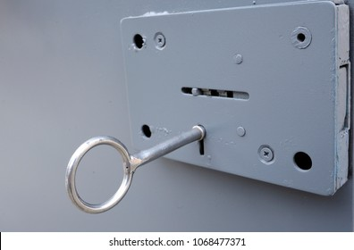 Lock on a metal door of a cell, a key placed in keyhole of a lock. Press tour for mass-media organized by Lukyanovskaya detention facility Directorate. February 21, 2018. Kiev, Ukraine