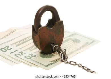 The lock on money isolated on white