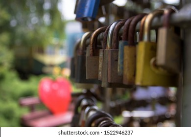 Lock in a park with a heart in the background in Nyíregyháza, Hungary