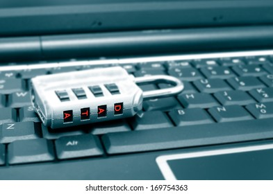 lock with password on a computer keyboard