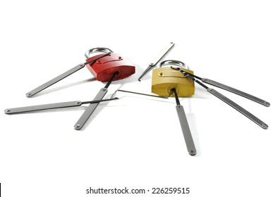 Lock picks isolated on white
