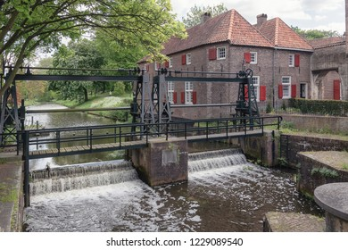 The lock in the river Eem just outside the old town of the city of Amersfoort in The Netherlands