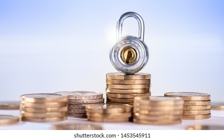 Lock with several stacks of coins