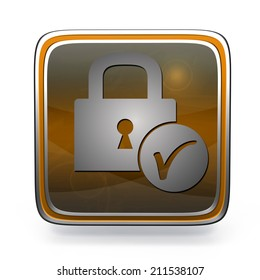 Lock square icon on white background