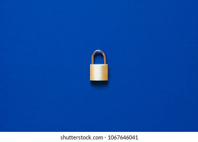lock as symbol for Privacy and General Data Protection Regulation on blue background