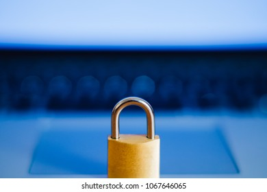 lock as symbol for Privacy and General Data Protection Regulation on a notebook computer