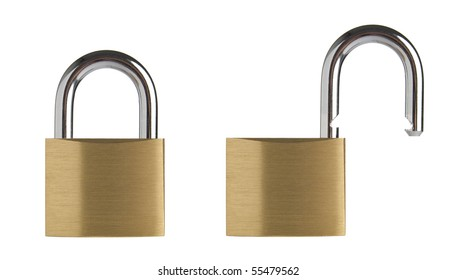 Lock in two position, locked and unlocked. Isolated on white background.