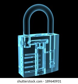 Lock x-ray blue transparent isolated on black