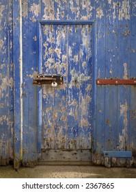 Locked blue door