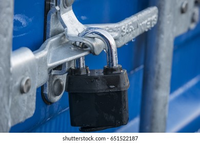 Locked clasp and padlock on a Storage Container January 2016