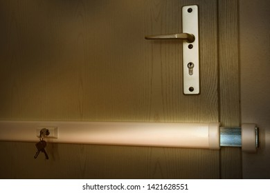 locked door with a metallic deadbolt