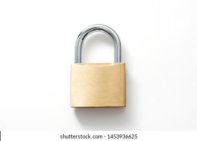Locked Golden Padlock on the white background.