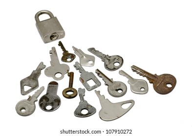 A Locked with many wrong Keys. over white background