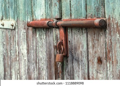 locked old door with latch
