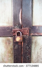 Locked old wooden door