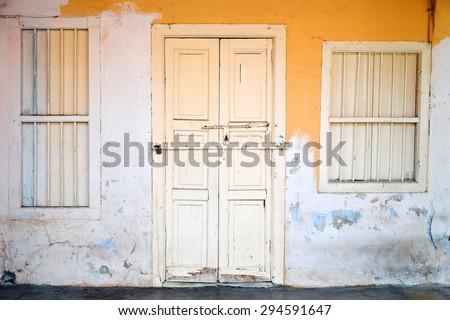 wood front door with windows wooden frame door locked wooden front door and windows of the old house vintage effect stock photo edit now