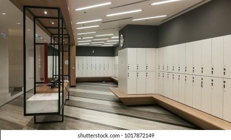 Locker room at fitness center. Interior Concept.