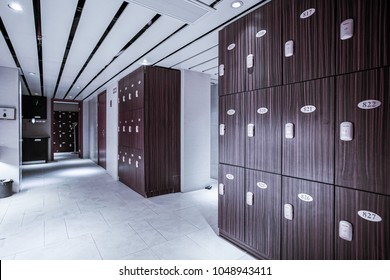The locker room at the gym.