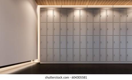 Locker room in gym , 3d rendering