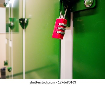 Locker room in the gym . safe place to store the equipment. terior, nobody. Expensive quality materials, luxury. Loft design dressing room. Lock with numbers