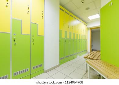Locker room in hotel gym
