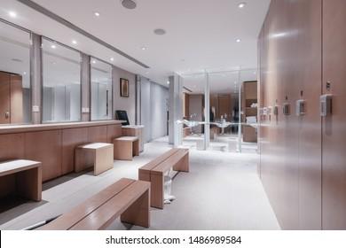 Locker room interior, part of hotel.