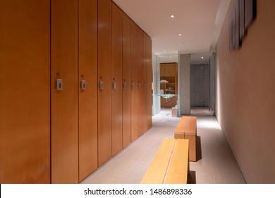Locker room in luxury hotel.