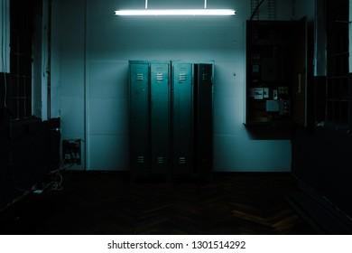locker in a room at night
