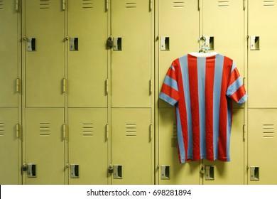 locker in sport gym with sport shirt