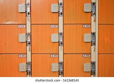 Lockers in a locker room.
