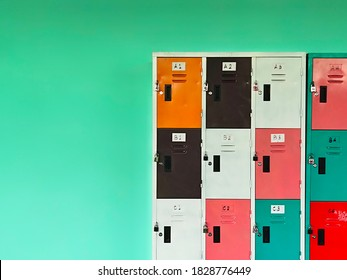 Lockers with lots of beautiful colors on the walls