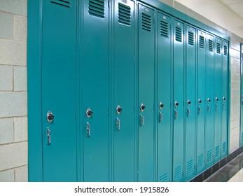Lockers in a public school hallway.