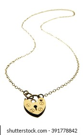Locket necklace on white background