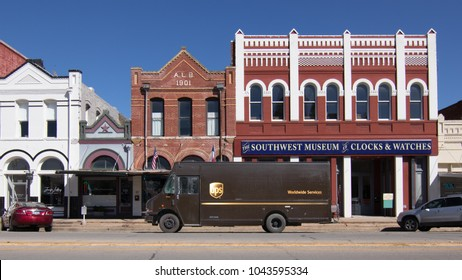 LOCKHART, TEXAS - MARCH 7 2018: UPS truck parked in a vintage Texas downtown