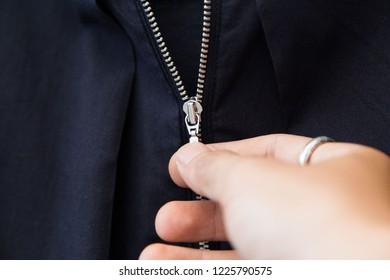 locking zipper on women clothes.