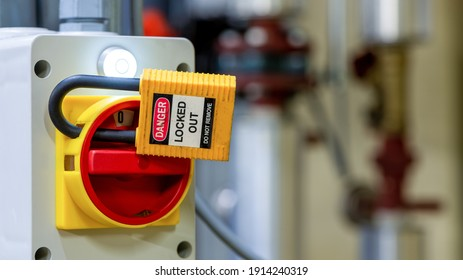 Lockout Tagout , Electrical safety system.Key lock switch or circuit breaker for safety protect.in electric room