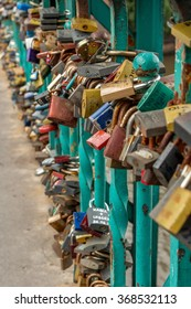 locks attached to a bridge