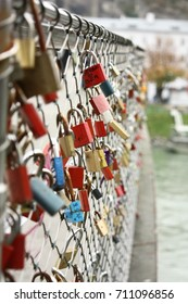 "Locks of Love, Makartsteg, Salzburg, Austria - late 2014. The Love Locks Bridge is famous among the travelers and lovers who want to set their love ""locked"" in this bridge."