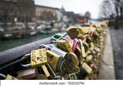Locks of Love on a bridge in Paris, France