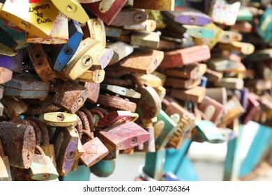locks of love on the bridge in Wroclaw, Poland