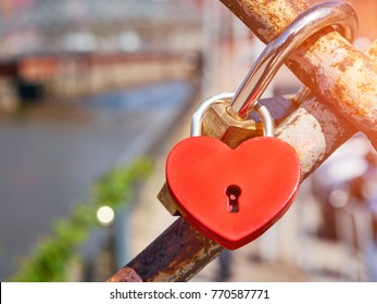Locks of lovers on the bridge.