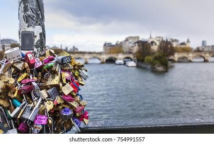 locks on  bridge in Paris